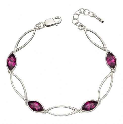 Amethyst coloured crystal marquise sterling silver bracelet BSWOJRM